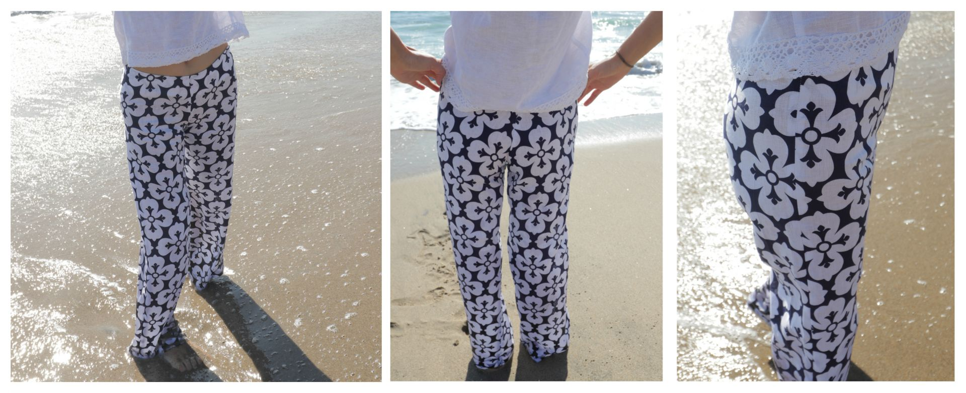 wide leg pant sewing pattern<span>hipster pants in white linen with a bold blue print, worn by the beach.</span>