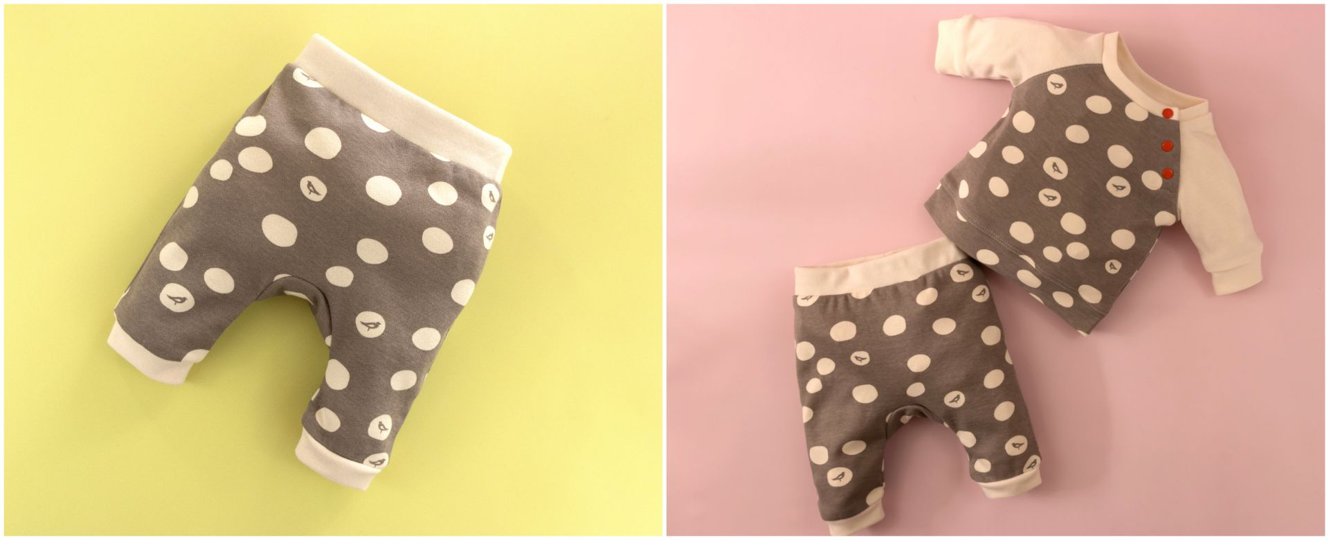 Baby Pants | Romper | Dungies. Beginner PDF Sewing Pattern.<span>Birch organic cotton knit fabric baby pants. Frocks and Frolics pdf sewing pattern.</span>