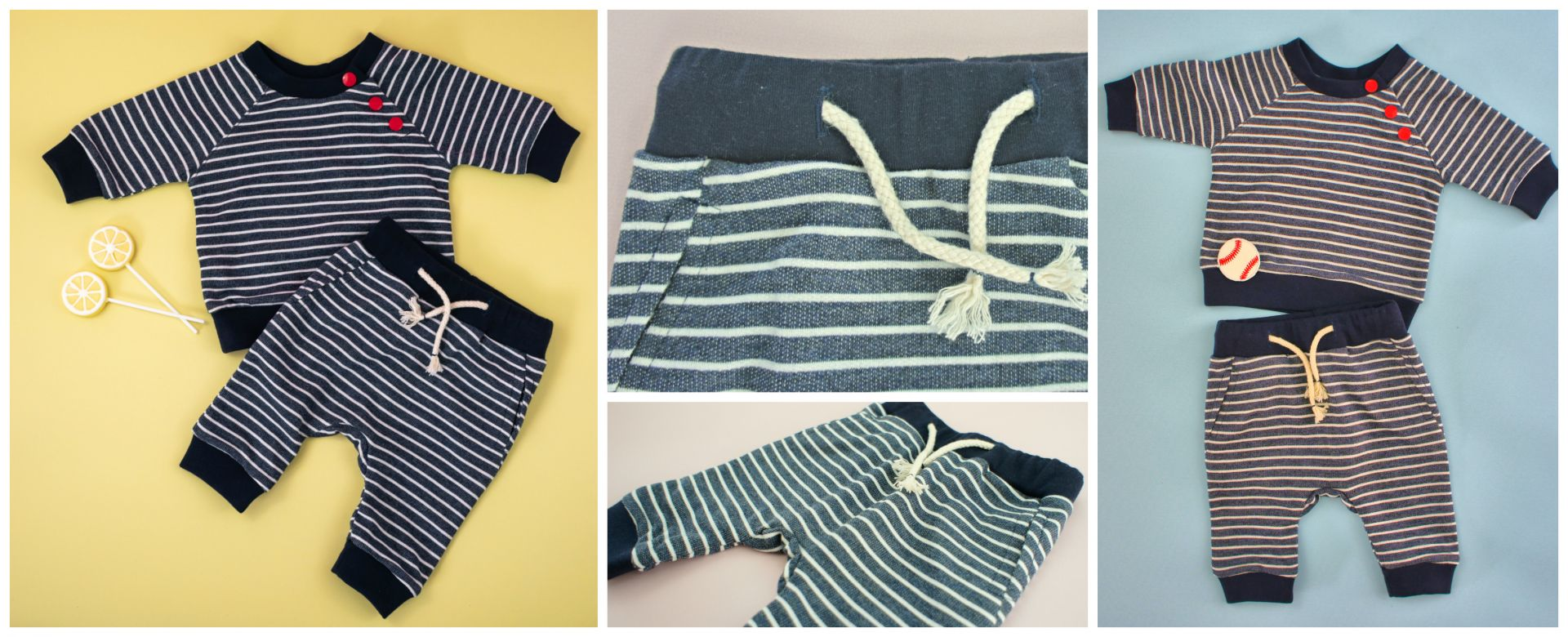 Baby joggers and Sweatshirt | Romper | Bubble Gum. Beginner PDF Sewing Pattern.<span>Blue stripe cotton knit fabric baby jogging pants. Baseball applique. Frocks and Frolics pdf sewing pattern.</span>